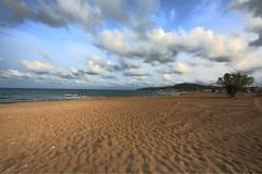 Faliraki beach (digifancanon) Tags: travel blue sea sky beach nature water clouds digital canon island islands spring sand colours horizon aegean wideangle greece april hdr seaview 2010 rhodos dodecanissa ef14mm28l