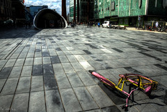 Different II (.rnst h.g.) Tags: pink yellow square different bikes eindhoven piazza leftalone