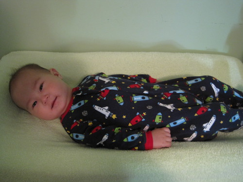 5.5 months old, wearing 9 months clothing