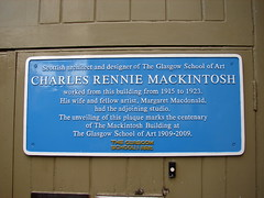 Photo of Charles Rennie Mackintosh and Margaret Macdonald blue plaque