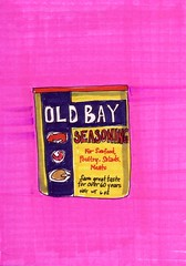Old Bay Seasoning (Homemade Pop) Tags: art artwork artist folkart outsiderart folk originalart contemporary drawings pop popart homemade marker prints prismacolor foodart doodling 5x7 magicmarker foodpackaging pilotpen cheapart retroart brightart originalillustration quirkyart