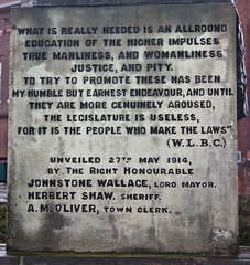Inscription on the south-facing side of the Coulson Memorial.