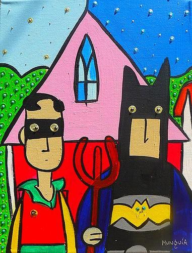 batinamerican gothic (Pintura) by Parodias de Pinturas Famosas