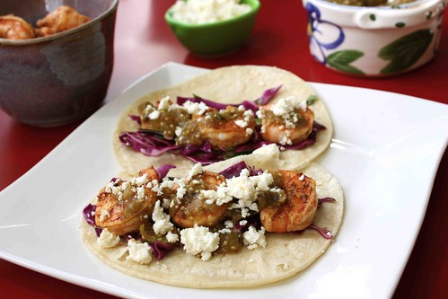 Roasted Tomatillo Shrimp Tacos With Honey-Lime Slaw Recipe by Rick Bayless