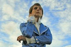 Poet. (Denis Malka) Tags: lighting blue boy portrait man color male beauty fashion catchycolors person european exterior cyan poet ms brightcolor midshot aristocrat strobist denismalka