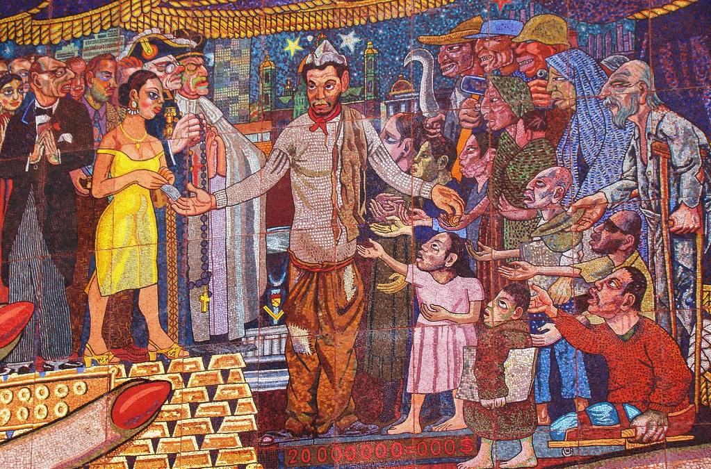 Diego Rivera Marxist Art -- Cantinflas Redistributing Wealth