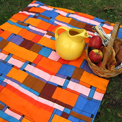 eames era upcycled vintage couples picnic blanket (SewnNatural) Tags: blue summer orange geometric portable handmade sienna picnics midcenturymodern sewnnatural artisansgalleryteam