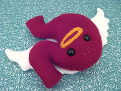 The Stomach, RIP (PterodactylPants Plush) Tags: red white cute art monster angel dead death wings heaven handmade craft halo stomach plush organ cuddly morbid fleece snuggly deceased plushteam pterodactylpants