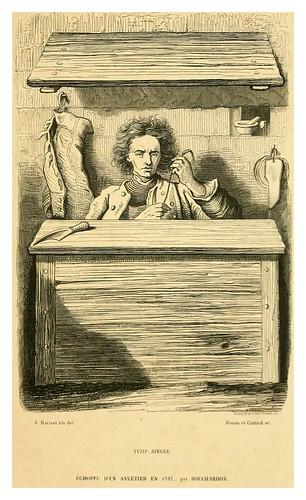 014-Puesto de un zapatero remendon en 1737-Histoire de la chaussure depuis l'antiquité-1862- Paul Lacroix y Alphonse Duchesne
