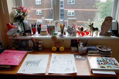 My desk and drawings in progress!