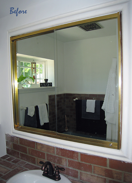 vintage brass vanity mirrors before