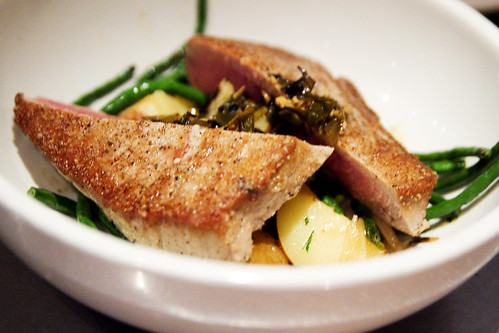 seared ahi, milton's potatoes, long beans, scallion vinaigrette