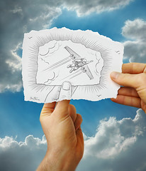 Pencil Vs Camera - 20 (Ben Heine) Tags: travel blue arizona sky bird art texture clouds speed painting paper switzerland robot fly sketch 3d high wings hands nikon energy technology power d70 swiss surrealism space grandcanyon fingers machine fast aeroplane supe
