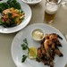 prawns, salad, and beer