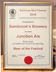 The Battersea 2010 Beer of the Festival certificate