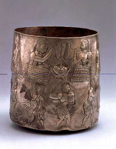 Bactrian Silver Cylindrical Cup with Agricultural and Ceremonial Scene