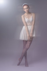 Blur (Cat Rennie) Tags: lighting light woman blur girl beauty fashion female photoshop pose studio model edinburgh photographer dress purple lace clothes vogue dreamy andrewmoore etherel catrennie