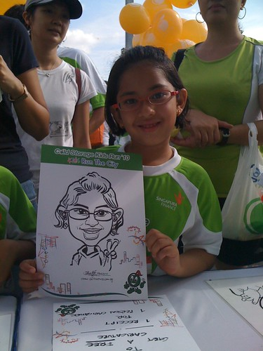 caricature live sketching for Cold Storage Kids Run 2010 - 4