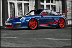 Porsche GT3 RS Mkll (JespervdN) Tags: blue red photoshop germany deutschland nikon porsche 1855 rims rs supercar colouring vr duitsland spoiler selective lightroom gt3 nordschleife nrburgring d60 cs3 mkll autogespot