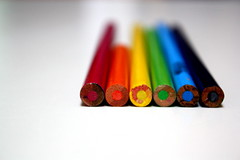red orange yellow green blue purple. (michelllewade) Tags: blue red orange white green art colors yellow pencils rainbow topf50 purple explore coloredpencils six macromonday