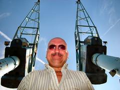 CRANE ME CRANE (weasteman) Tags: sky me sunglasses docks manchester bald mountainbike salfordquays cranes salford twocranes salforddocks weasteman