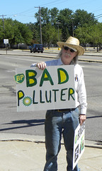 Protest against oil company BP and their still...
