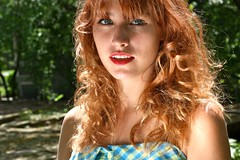 Caitie (allyssapahl) Tags: blue red girl portraits hair eyes outdoor curly lipstick amateur