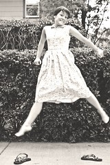 to the moon, alice! (enjoythelittlethings) Tags: goofy self canon vintage fun blackwhite jump jumping montana mt audreyhepburn dress sandals hedge tribute 365 billings halsman jumpology trp philiphalsman