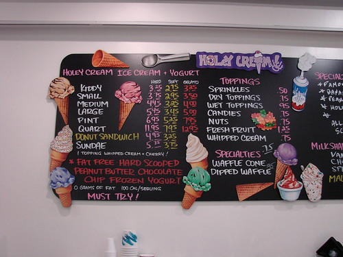 Holey Cream Ice Cream and Yogurt Menu