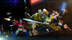 Moon Base Battle (Paul Mercado (Dre Merc)) Tags: toy robot transformers springer moonbase fp hasbro prowl optimusprime theotherside pp01 igear fansproject faithleader warbotdefender dremerc