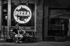 Valley Junction Saturday Night (12Jeepgirl~Never look back...) Tags: street people bw window night photoshop restaurant blackwhite nikon midwest couple neon iowa pizza adobe nik desmoines d300 cs4 valleyjunction authenticphotography silverefexpro bhphotoleicastreetphotographycontest