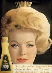 Golden egg-enriched shampoo (sugarpie honeybunch) Tags: magazine advertising 60s egg ad shampoo blonde 1960s seventeen helenecurtis
