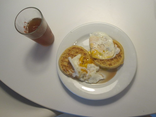 Eggs and waffles, iced tea