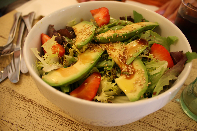 delicious avocado salat at a cool little café in the museum quarter of Madrid