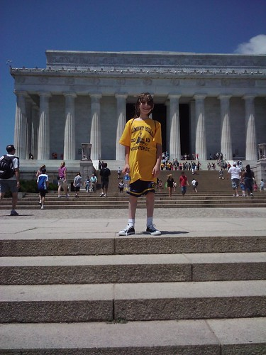 Jarett in front of Lincoln Memorial