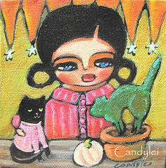 candylei primitive girl folk art black cat painting (Candylei) Tags: original pets halloween animals training cat topiary colorful acrylic sweaters spooky patience pottingshed catsweater pottingtable whitepumpkin catclothes growninapot