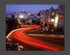 Lombard Light Trails Swerve (RZ68) Tags: road street bridge blue light sunset tower cars film st lights bay crazy long exposure traffic hill curves trails curvy trail velvia hour after lombardst streaks russian telegraph provia zigzag coit crooked lombard scurve lumbar swerve e100 lumbard rz68