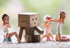 Why are you all naked, danboard! (Addixon777) Tags: japan closeup toy bath group manga olympus figurine ep2 canon100mmmacro danbo revoltech strawberrymarshmallow danboard
