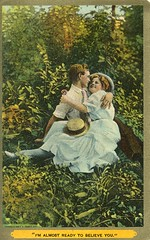 I'm almost ready to believe you (Rita was here...) Tags: vintage kissing postcard embracing