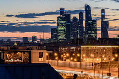 Moscow city at dusk (ru13r) Tags: moscow russia summer city citylife cityscape dusk evening lights louds moscowcity москва москвасити россия вечер сити