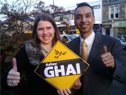 Bearsden South's new Councillor Ashay Ghai with Jo Swinson MP