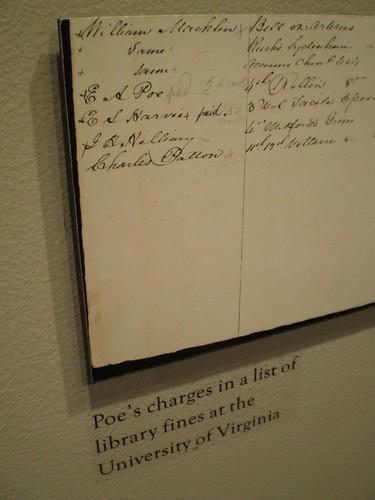 Edgar Allan Poe had library fines