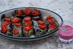 Red mullet fillets wrapped in grape leaves and tomatoes, in a pink tehina sauce (dvarimbealma) Tags: pink red food leaves tomato recipe table leaf cook slice ready after beet grape keaf fillet redmullet tehina dvarimbealma pinktehina