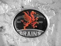 Wales Pub Sign for Brains Beer