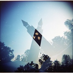 Bell tower 2 (without the blank film scan) (loganbertram) Tags: tower 120 mediumformat photography holga bell belltower multipleexposure carolina medium format logan unc bertram uncbelltower loganbertram loganbertramphotography