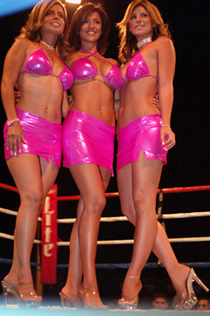 Ring Girls wearing hot pink bikinis