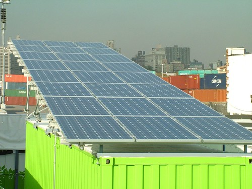 Photovoltaic panels, view of port and downtown Brooklyn
