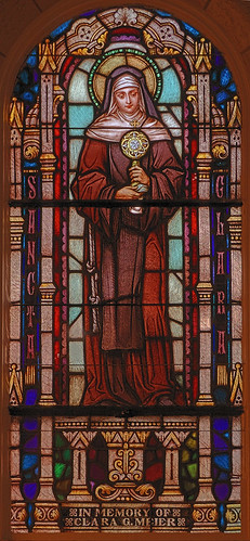 Saint Augustine Roman Catholic Church, in Breese, Illinois, USA - stained glass window of Saint Clare