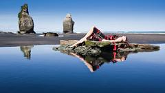 Sempre Vivace, Momentaneamente Stazionario (Mark Solly (F-StopNinja)) Tags: blue sea sky reflection beach water girl stone sand rocks dress clear threesisters sigma1020mm tongaporutu nikond90 semprevivace