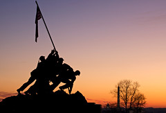 Sunrise at Iwo Jima Memorial (Rozanne Hakala) Tags: city sculpture usa history silhouette statue usmc bronze sunrise dawn dc washington districtofcolumbia marine memorial military wwii explore capitol corps dcist rosslyn washingtonmonument iwojima